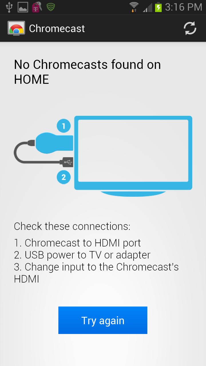 Chromecast App Setup - Chromecasts not found